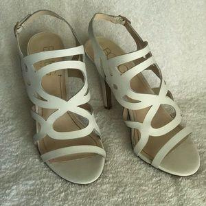 BCBG White summer sandals with high heels size 9,5